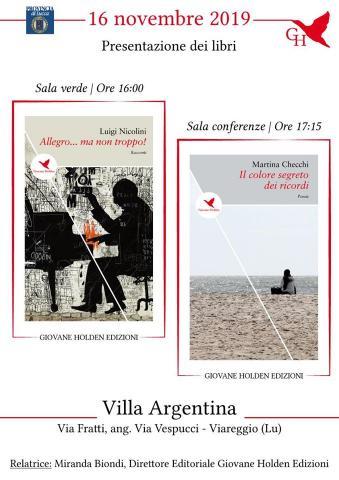 Invito alla presentazione dei libri della rassegna di spessosottile 16 novembre