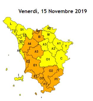 La cartina coi livelli e le zone di allerta meteo del 15 novembre