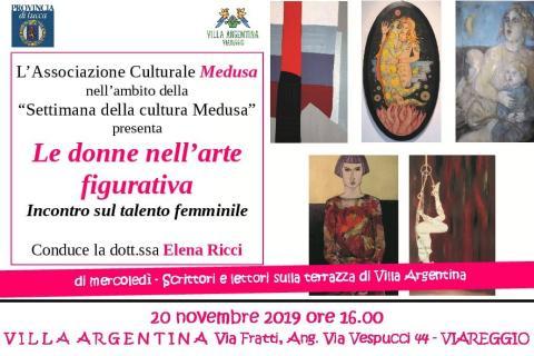 Invito al'evento intitolato Le donne nell'arte figurativa del 20 novembre