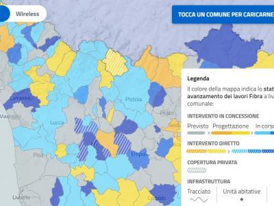 Mappa interattiva sul sottosito dell'ente dedicato alla banda larga