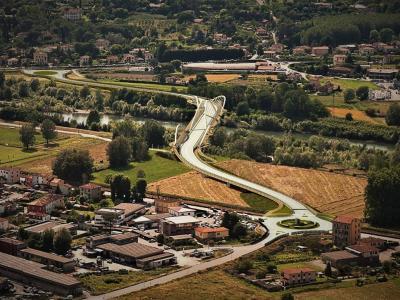 uno dei rendering del nuovo ponte sul fiume Serchio a Lucca