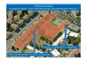 Strutture provvisorie presso area parcheggio ed edificio 7 dell'ex ospedale campo di marte